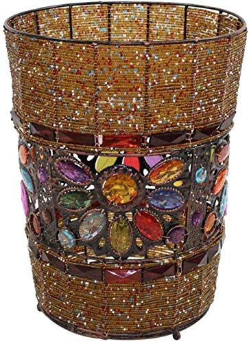 Vuilnisbakken Creative retro ijzer trash trash trash kralen handgemaakte plexiglas interieur opslag prullenbak opslag recycle papier manden, Maat: 9,06 * 6,89 * 11.42inchs, Kleur: Bruin