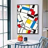 Cuadro abstracto Cuadrícula de Piet Cornelies Mondrian Impresiones en lienzo modernas Póster Arte de la pared Sala de estar Cuadros Decoración del hogar 60x90cm Sin marco