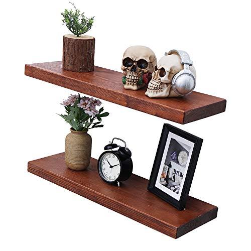 Rustic Wood Floating Shelves - Wooden 3 Tier Wall Shelf - Natural Pine, Oil Finish, Farmhouse Shelfs Wall Mounted for Bathroom Kitchen Bedroom Living Room, Set of 3 (Dark Walnut, 17