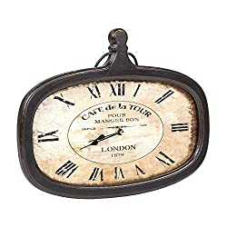 The Country House Collection Café de la Tour Oval Shaped 16 x 14 Wood Wall Analog Clock