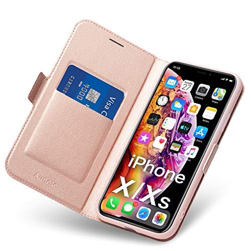 Coque iPhone X, Housse iPhone XS, Ultra Mince Portefeuille, Emplacement Carte, Fermeture Magnétique, Rabat Flip Case, Clapet Folio Étui, Cuir PU et TPU Bumper, Protection Apple 5.8 Phone. Or Rose