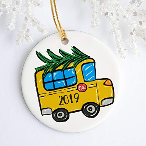 DKISEE School Bus Ornament Vakantie Ornament Kerstmis Naam Jaar Leraar Cadeaubuschauffeur Cadeau 3