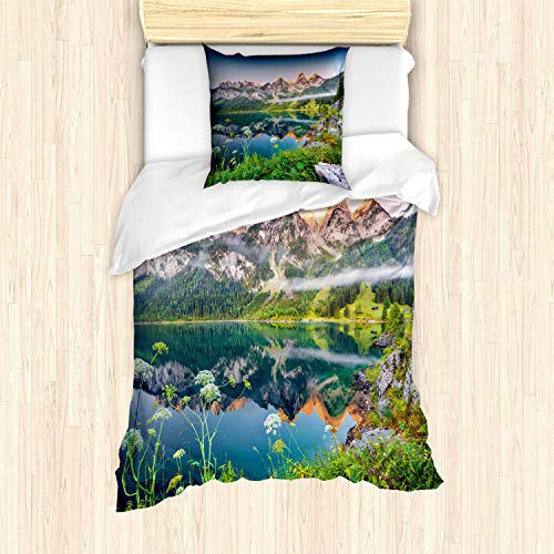 ABAKUHAUS Natur Bettbezug Set für Einzelbetten, Österreich Alpen Berg See, Milbensicher Allergiker geeignet mit Kissenbezug, Mehrfarbig