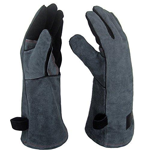 APOGO Ofenhandschuhe Backhandschuhe Grillhandschuhe 1 Paar Leder Grill Handschuhe 41x15X1.5cm Wildleder, mit Aufhängung, Topflappen für Küche und Grill Grillplatz Mikrowelle Handschuhe Schweißen