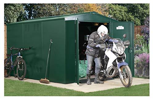 Asgard 10x7 Gladiator Motorbike Plus Apex Shed Green