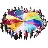Play Tents Kids Game Play Parachute 6m avec Poignées Tapis De Couverture De Pique-Nique Extérieur Intérieur (23-30 Enfants Jouent),3M