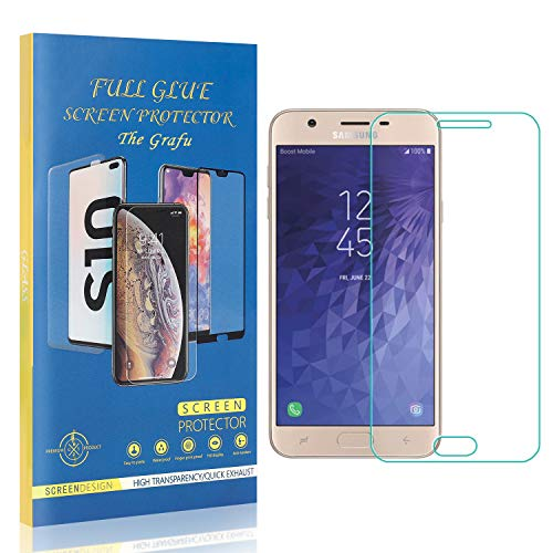 Affordable The Grafu Screen Protector for Galaxy J7 2018, Ultra Clear, Bubble Free, 9H Tempered Glas...