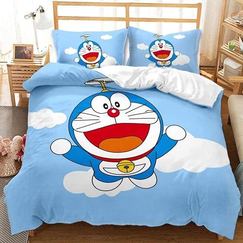 Hyzljo Doraemon - Juego de funda de edredón (100% microfibra, regalo de cumpleaños, apto para todas las estaciones, juego de 3 piezas (Doraemon3, 220 x 240 cm + 80 x 80 cm x 2)