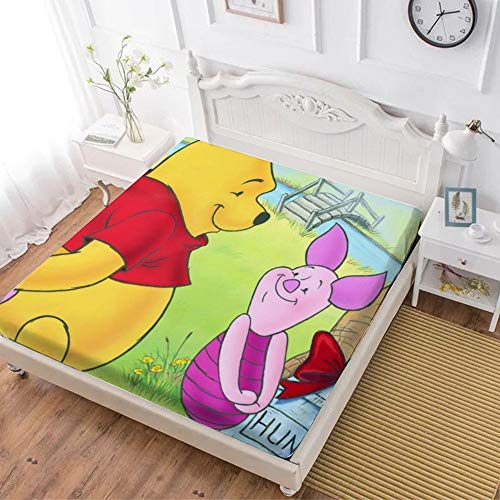 Fitted Sheet,Winnie The Pooh Bear Piglet (2),Soft Wrinkle Resistant Microfiber Bedding Set,with All-Round Elastic Deep Pocket, Bed Cover for Kids & Adults,queen (70x80 inch)