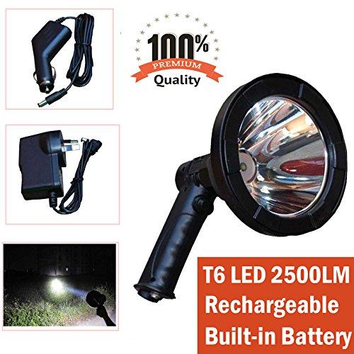 Foco LED de mano de 5 pulgadas 2500lm para caza, camping, al aire libre, recargable, portátil, superbrillante, distancia de luz incorporada de 800 m, batería de 12 V