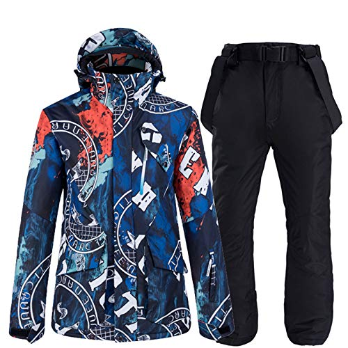 YSML Outdoor Herren wasserdichte Jacke Und Hosen Winddicht Bewahren Sie Warme Bergsteigen Skifahren Snowboarden Erwachsene Winter Zwei Stück Schneeanzug,Schwarz,L
