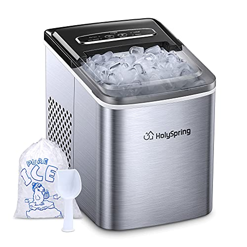 Ice Maker Machine Countertop, HolySpring Portable Ice Makers with Ice Bags and Standing Ice Scoop Basket, Countertop Ice Maker 2.1L w/Self Cleaning, 9 Bullet Cubes Ready in 5-7Mins, 26.5lbs in 24 hrs