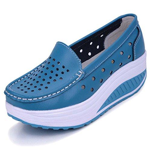 Solshine Damen Leder Atmungsaktiv Loafers Freizeitschuhe Plateau Keilabsatz blau 40 EU / 6 UK / 7.5 US