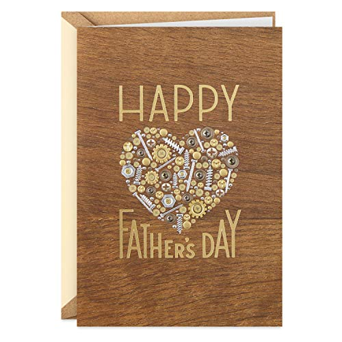 Hallmark Signature Wood Fathers Day Card for Dad (Nuts and Bolts Heart)