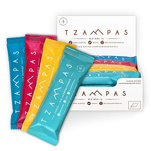 TZAMPAS Energieriegel Mix Box Groß (16x40g) - Energy Riegel aus gerösteter Gerste im Snack Box Format - Power Riegel   Energieriegel Radsport geeignet - Bio Riegel vegan & ohne Zusätze