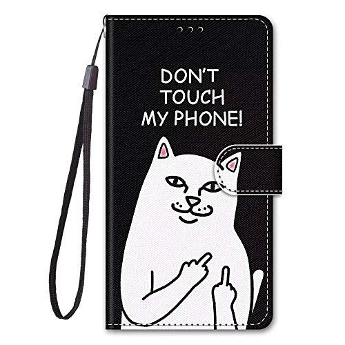 Miagon Full Body Flip PU Leder Schutzhülle für Huawei P9 Lite,Bunt Muster Hülle Brieftasche Case Cover Ständer mit Kartenfächer,Weiß Katze