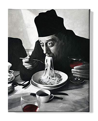1art1 Kochkunst - Spaghetti, Rotwein, Don Camillo Bilder Leinwand-Bild Auf Keilrahmen | XXL-Wandbild Poster Kunstdruck Als Leinwandbild 50 x 40 cm