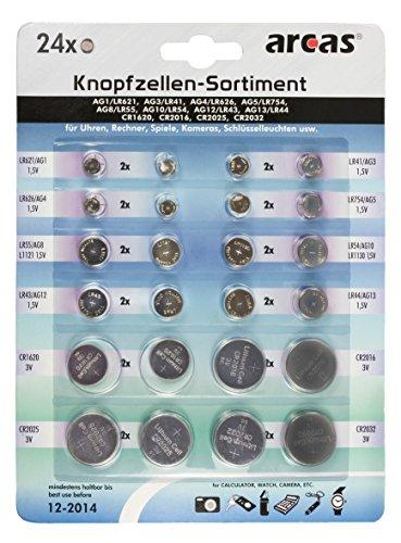 Pile a bottone assortimento di Alkaline e Litio, 24pezzi (quantità = 2)
