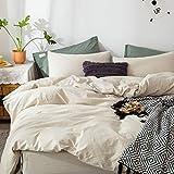 FOSSA Washed Cotton Duvet Cover Set Queen 3 Piece Bedding Sets Soft Wrinkled Striped Design (Queen, Linen Pinstripes)