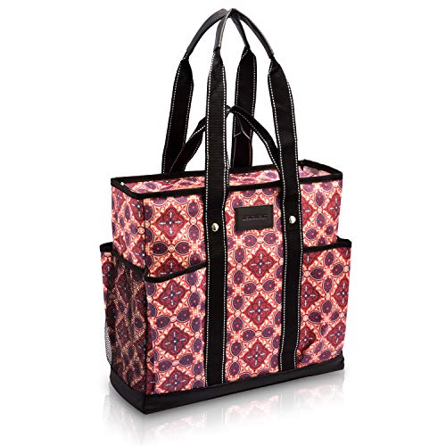 Canvas Tote Shopping Bag,Utility Teacher Nurse Organizer Handbag Bag DEMOMENT (Purple flower)