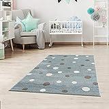 Alfombra infantil con lunares, puntos, alfombra para niños y niñas, para habitación infantil, sin sustancias nocivas, color beis, azul y rosa