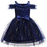 YGCLOTHES 2021 Girls Bowknot Lace Princess Skirt Summer Lentejuelas Vestidos,para Bebés Niños Pequeños 3-10 Años,Azul,120