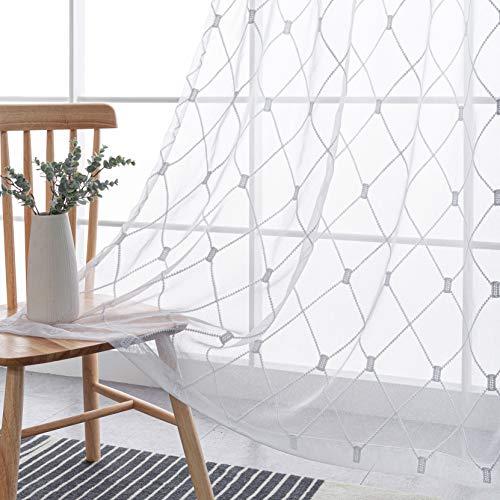 BONZER Semi Sheer Curtains for Bedroom - Grommet Embroidered Diamond Tile Print Voile Light Filtering Window Curtains for Living Room, Set of 2 Panels (52 x 84, White)
