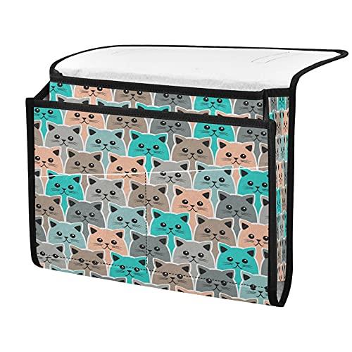 Organizador de almacenamiento para mesita de noche, diseño de gato de animales, junto a la caja, organizador de almacenamiento para mandos a distancia gafas de teléfono