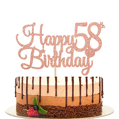 Happy 58th Birthday Cake Topper, Cheers to 58 Years, 58 & Fabulous, 58th Birthday/Anniversary Party Decorations Rose Gold Glitter.