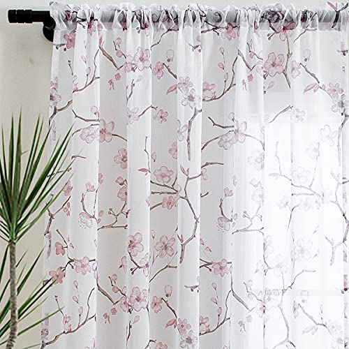 Linentalks Floral Pink Sheer Curtains 84 Inches Long, Cherry Flower Pattern Semi Sheer Blush Curtains for Living Room, Rod Pocket Pink Curtains for Girls Bedroom, Light Pink Curtains Set of 2 Panels