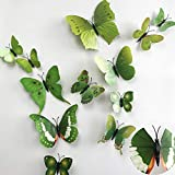36pcs 3D Colorful Butterfly Wall Stickers DIY Art Decor Crafts for Party Nursery Classroom Offices Kids Girl Boy Baby Bedroom Bathroom Living Room Magnets and Glue Sticker Set (GREEN-single wing)