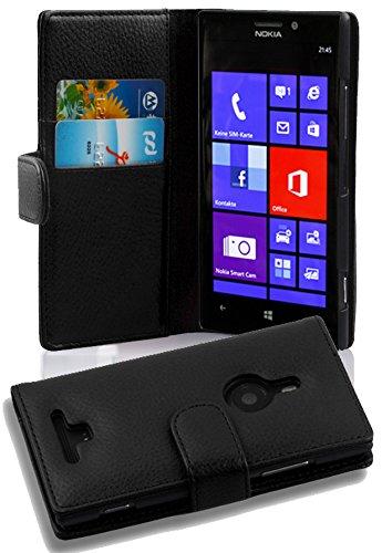 Cadorabo Custodia Libro per Nokia Lumia 925 in Nero Profondo - con Vani di Carte e Funzione Stand di Similpelle Strutturata - Portafoglio Cover Case Wallet Book Etui Protezione