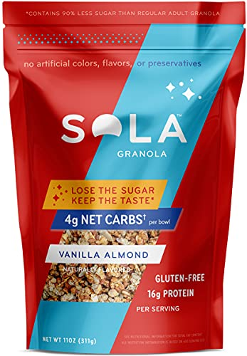 Sola Low Carb & Keto Friendly Granola, Vanilla Almond - Low Sugar, Naturally Flavored, Gluten Free & No Artificial Colors, Flavors or Preservatives, 11 OZ Pouch (Pack of 1)