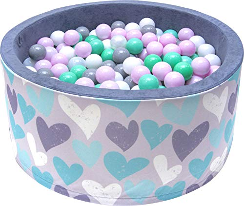 BDW Piscina de bolas para bebés y niños, 90 cm x 40 cm, 200 bolas redondas, gran selección