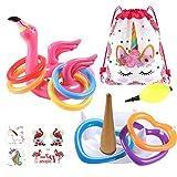 vamei Jeux Piscine Flamant Gonflable Jeu De Tir 2 Anneaux Jeu De Tir en Plein Air Intérieur Parents Enfants Jeux Piscine Hawaii Luau Game À Air pour Le Mariage D'été Flamingo Party