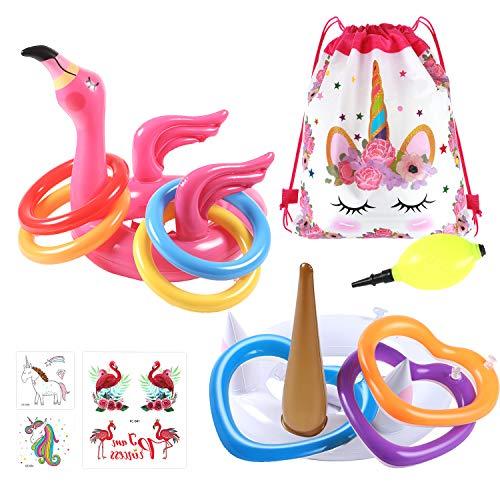 vamei 2Stk Ringwurfspiel Aufblasbar Einhorn und Flamingo Aufblasbar mit 12stk Ring Toss Wurfspiel Partyhüte für Sommer Party Geburtstag