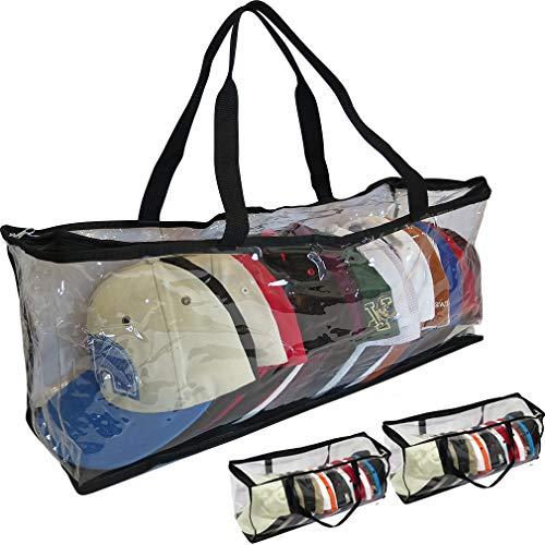 Evelots Sport/Trucker Cap Bag-40 Hats-Easy Zipper-Handles-Clear-Dust Proof-Set/2