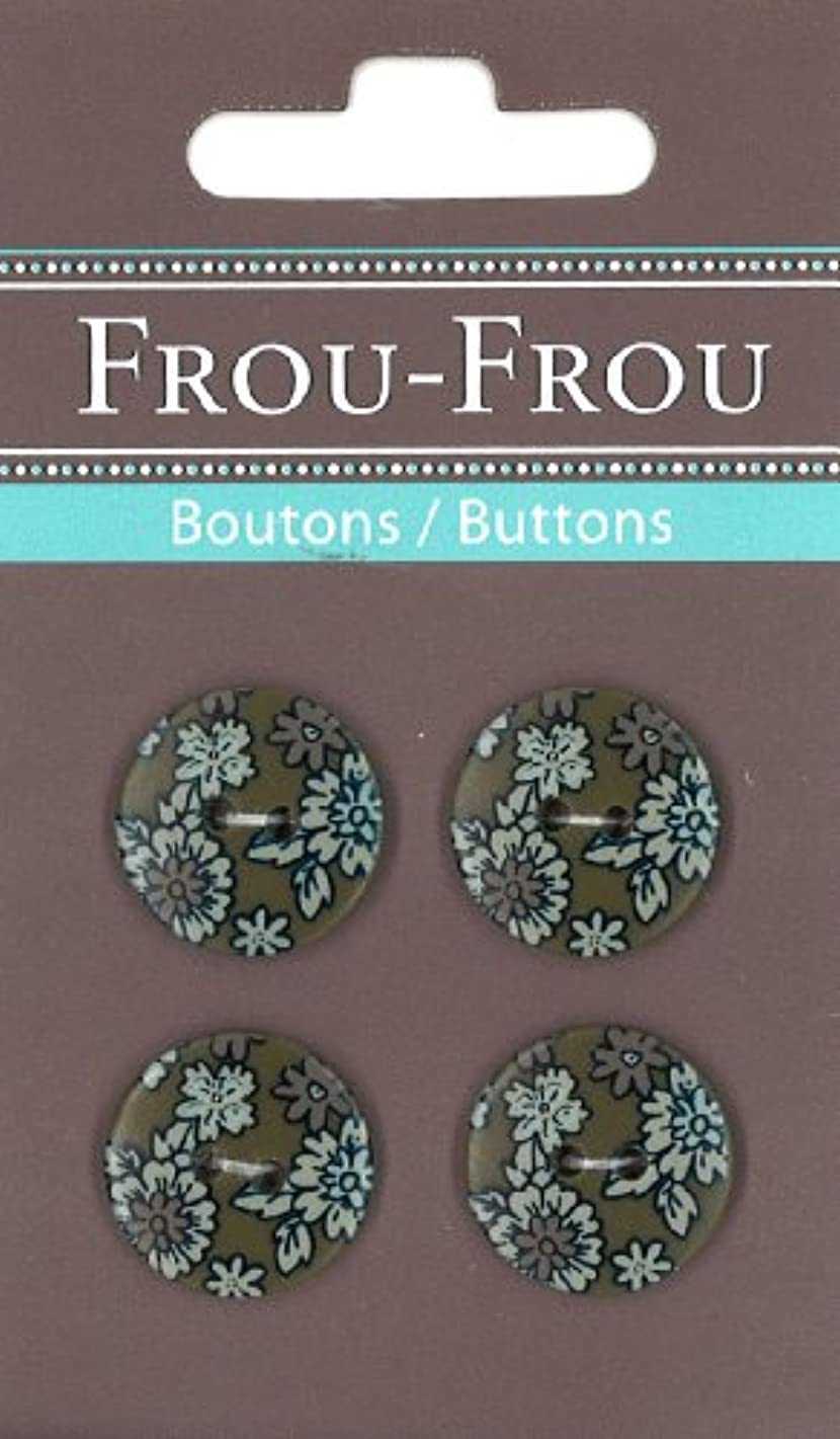 Frou-Frou 7124 18 3 Packet of 4 Nylon Buttons for Customisation Flowers Printed on Khaki Background