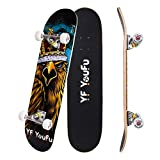 YF YOUFU Complete Skateboards, 31 inch Pro Skateboard for Boys/Girls/Youth/Adults, Tricks Skate Board for Beginners & Pro, Double Kick 7 Layer Canadian Maple Wood Concave Skateboard