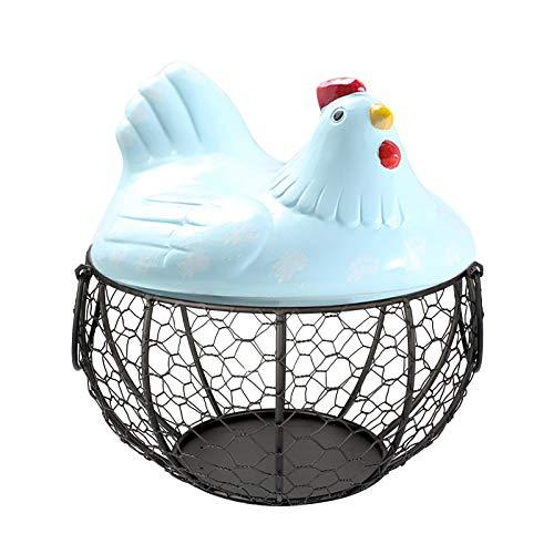 TimseYom - Soporte para huevos de cocina, con tapa y asas de cerámica, para organizar y almacenar huevos, frutas y verduras (azul)