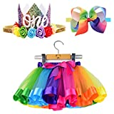 BGFKS Newborn Baby Girls 1st Birthday Photography Outfit Sets Layered Rainbow Tutu Skirt with Hairbow and Crown Headband