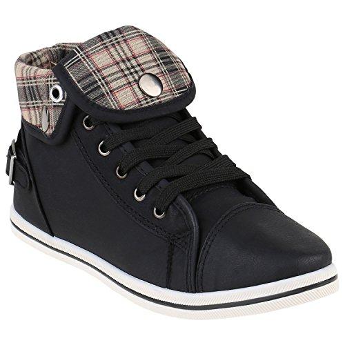 stiefelparadies Damen Sneakers Sneaker High Strass Zipper Schnallen Turn Spitze Sport Schnürer Schuhe 142034 Schwarz Karo 38 Flandell