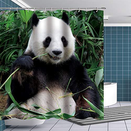 BTTY Panda Duschvorhang Panda essend Bambus Stoff Badezimmer Vorhang-Sets Cute Panda Duschvorhang mit Haken Tier Schwarz Weiß & Grün Tuch Badezimmer Dekoration 177 x 178 cm