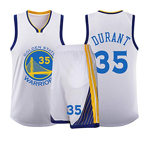 Kinder Jungen Trikots, Curry Nr. 30 Shirt, Durant Nr. 35, Thompson Nr. 11 Warriors Mesh Breathable Polyester Jersey,-White35-XS