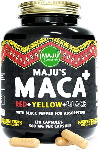 Strong Organic Maca Capsules, Black, Yellow & Red Root w/ Black Pepper Extract for Absorption, Roots Grown in Peru, Peruvian Powder, Men & Women Supplement, 60,000 mg