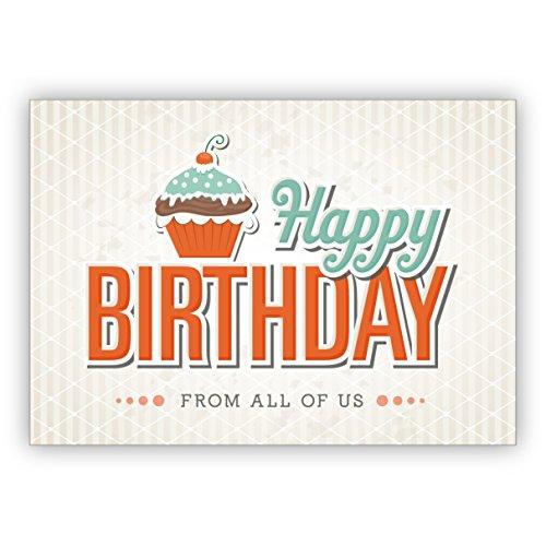 Chique retro verjaardagskaart met muffin in vintage stijl: Happy Birthday from all of us • mooie wenskaarten met enveloppen zakelijk & privé 16 Grußkarten