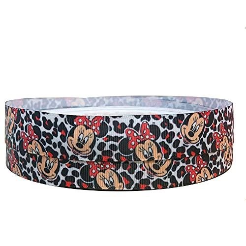 2 m x 22 mm de ancho con estampado de leopardo Minnie Mouse para decoración de tartas de cumpleaños personalizadas, cinta de decoración para regalos, lazos o adornos de globo, cinta de arte