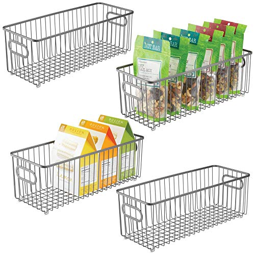 mDesign 4er-Set Küchenkorb aus Metall – flexibler Aufbewahrungskorb für die Küche, Vorratskammer etc. – langer und universeller Drahtkorb mit Griffen – dunkelgrau