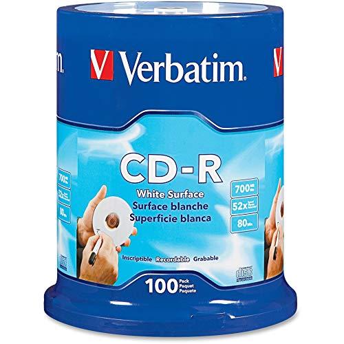 Verbatim CD-R 80MIN 700MB 52X Blank White Surface 100pk Spindle