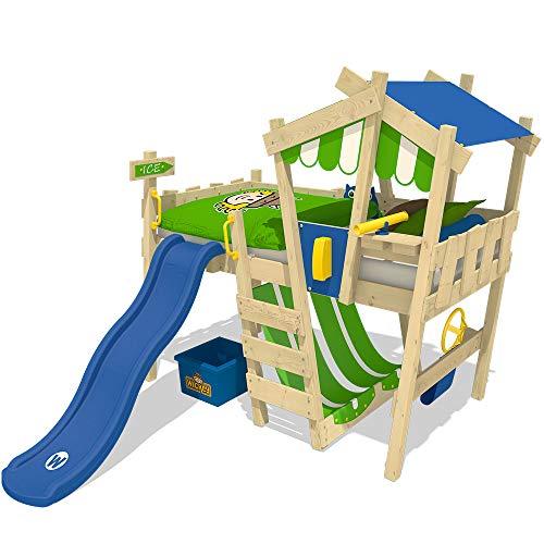 WICKEY Kinderbett Hochbett Crazy Hutty mit Rutsche mit blauer Rutsche, Hausbett 90 x 200 cm, Etagenbett